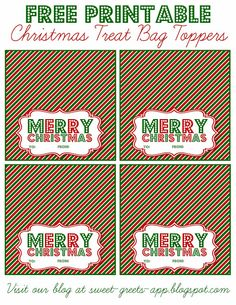 Just Peachy Designs: Free Printable Christmas Treat Bag Toppers