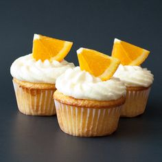fresh orange cupcakes with orange buttercream frosting