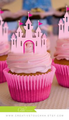 Princess Cupcake Toppers, Princess Castle, Disney Princess, Princess Birthday, Princess Party, Castle Cake Topper, Decoration