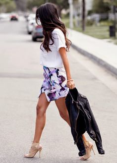 white shirts floral skirt nude heels black leather jacket. Street women fashion outfit clothing style apparel @roressclothes closet ideas