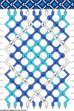 diamond geometric friendship bracelet pattern 10 strand 3 color