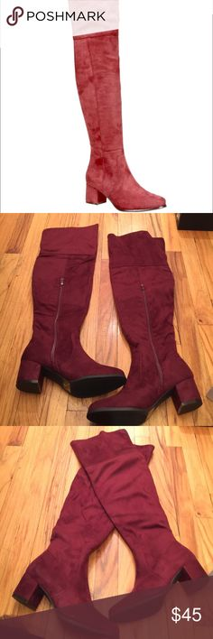 Red wine over the knees boots by viviglam ⚡️Sale⚡️ Brand new over the knees red wine boots super nice on sale ⚡️⚡️ nature breeze Shoes Over the Knee Boots
