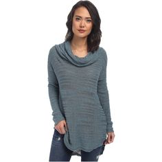 Free People Reunion Slubby Drape Neck Cowl Women's Sweater, Blue ($71) ❤ liked on Polyvore featuring tops, sweaters, blue, cowl neck sweater, free people, drape sweater, blue sweater and drape neck top
