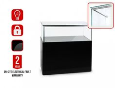 P-1200 Black LED Retail Display Plinth