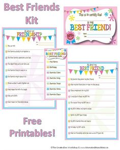 These free printable friendship worksheets are a fun way for kids to celebrate their BFF. These make an excellent addition to special memory boxes.