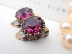 Clip On Earrings, Amethyst Swarovski Clip On, Non Pierced for girls, Art Deco, Stud, Antique Bronze, Filigree post Old Style Vintage Jewelry