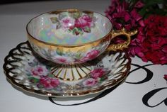 Japanese Tea Cups and Saucers | Castle Japan Vintage Tea Cup and Saucer by HoneyandBumble on Etsy, $49 ...