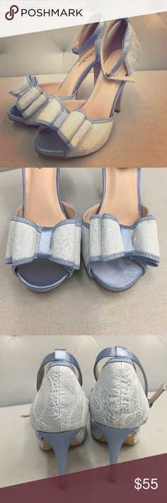 🚚 MOVING SALE🚚 NWT Your Party Shoes in Blue Brand new satin pumps. Ivory lace over blue satin. Your Party Shoes brand style Harlow. Offers welcomed! Your Party Shoes Shoes Heels