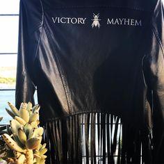 Victory  Mayhem cropped tasseled napa leather jacket. It feels good! #victoryandmayhem #fashion #fashionblogger #keepingitreal #instafashion #whataview #feelsgood