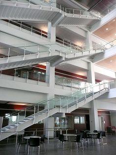 Beloit College, Beloit, Wisconsin, Science Building Atrium Stairs I Beloit College, Beloit Wisconsin, Stair Handrail, Atrium, Green Building, Staircases, Stairs, News, Modern