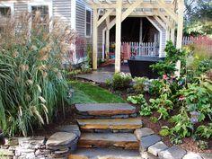 Stone and timber backyard - DIY Network