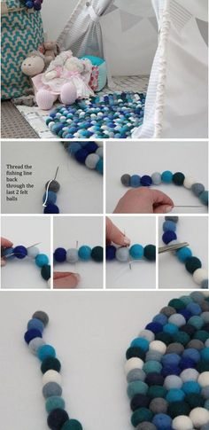 Felt balls diy projects which are easy to create and will help you in decorating your house. These felt ball rugs will give a warm and cozy look and are great for kids rooms. Diy Décoration, Easy Diy Crafts, Cute Crafts, Kids Crafts, Kids Diy, Decor Crafts, Pot Mason Diy, Mason Jar Crafts, Diy Projects To Try