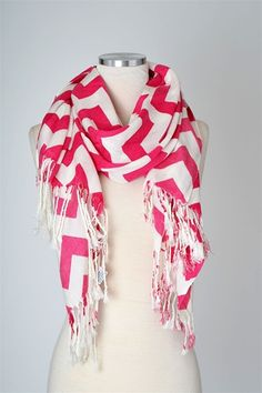 Prep In Your Step Monogrammed Chevron Scarf - Pink
