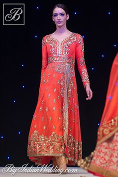 Manish Malhotra red long anarkali style