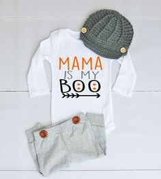 Mama is My Boo Halloween Outfit for Baby Boy - Baby Boy Halloween Bodysuit - Halloween Onesie® for Baby Boy - Halloween Outfit for Boy