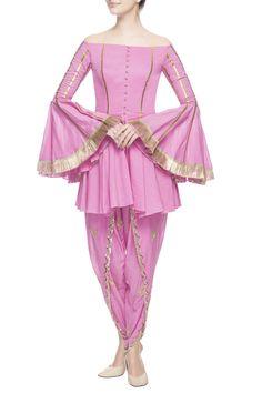 Buy Pink peplum flared kurta by Ohaila Khan at Aza Fashions Indian Gowns Dresses, Indian Fashion Dresses, Pakistani Dresses, Indian Outfits, Girls Dresses, Pakistani Suits, Asian Fashion, Stylish Dress Designs, Stylish Dresses