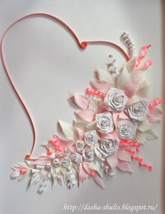 Quilled heart and flowers
