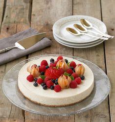 Sukkerfri ostekake med vanilje og lime - LINDASTUHAUG Nom Nom, Muffins, Cheesecake, Food And Drink, Healthy Eating, Pudding, Candy, Cookies, Snacks