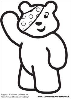 6 awesome Children In Need colouring pages for girls. All the colouring pages are awesome, printable books for girls to paint or colour in.