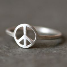 Peace Sign Ring in Sterling Silver by MichelleChangJewelry on Etsy, size 7. LOVE THIS RING!!
