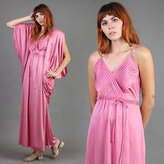 vintage ROSE pink art deco TWO PIECE matching set dress cape draped disco cocktail party grecian gown small medium S M Grecian Gown, Grecian Goddess, Vintage Roses, Vintage 70s, Sexy Maxi Dress, Cape Dress, Pink Fabric, Pink Roses, Pink Art