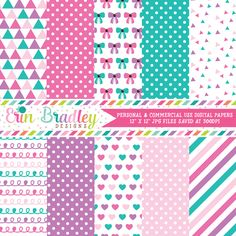 Baby Girl Pinks Digital Paper Pack – Erin Bradley/Ink Obsession Designs
