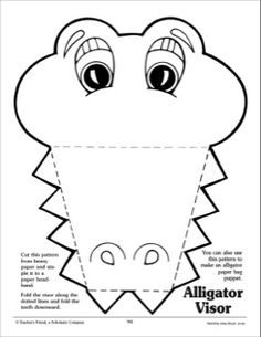 Alligator: Visor Pattern by Scholastic Alligator Costume, Alligator Crafts, Alligator Party, Abc Crafts, Animal Crafts, Preschool Activities, Crafts For Kids, Alphabet Crafts, Crocodile Craft