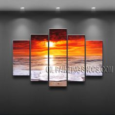 Astonishing Contemporary Wall Art Artist Oil Painting For Bed Room Sunrise. This 5 panels canvas wall art is hand painted by E.Cheung, instock - $175. To see more, visit http://OilPaintingShops.com