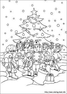 Fireman Sam Christmas Coloring Pages For Kids Printable Free