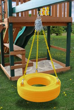 - Product Description - Product Specs - About Our newly designed tire swing is much better than you may remember from your childhood! This commercial grade tire swing is a totally enclosed design that Kids Outdoor Play, Backyard For Kids, Outdoor Fun, Kids Yard, Tire Swings, Diy Tire Swing, Tyres Recycle, Recycled Tires, Recycled Materials