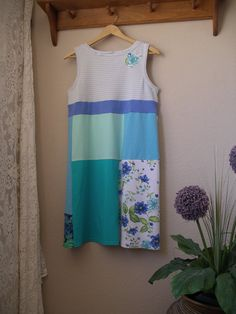 Blue Green Color Block T-Shirt Dress/ Upcycled Cotton Jersey