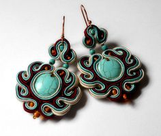 Soutache earrings: KimimilaArt on Etsy