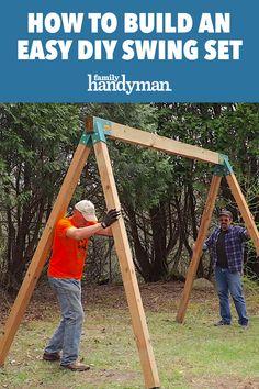 Build A Swing Set, A Frame Swing Set, Wood Swing Sets, Swing Sets For Kids, Backyard Swing Sets, Diy Swing, Backyard For Kids, Swing Sets Diy, Wooden Swing Set Plans