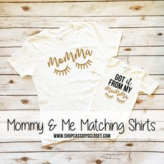 Mommy & Me Outfits. Got it From My Momma Sparkle Shirt and Onesie Set. Browse the entire collection of matching mommy and me shirts at www.shopcassidyscloset.com