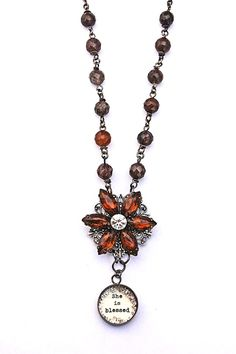blessed brown bling necklace - $75.00 : Beth Quinn Designs , Romantic Inspirational Jewelry