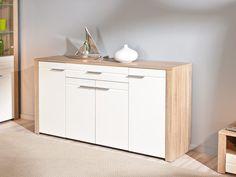 Mueble salón roble y blanco