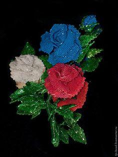 """Броши """"Роза"""". Комплект-трансформер. - брошь,брошь-цветок,бисер,роза,рубка"""
