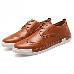 Men Brogue Hollow Out Low-top Flat Lace Up Oxford Shoes