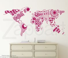 World map with countries borders outline wall decal by zapoart on patterned world map wall decal gumiabroncs Image collections