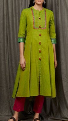 Women's kurtis online: Buy stylish long & short kurtis from top brands like BIBA, W & more. Explore latest styles of A-line, straight & anarkali kurtas. Salwar Neck Designs, Kurta Neck Design, Kurta Designs Women, Dress Neck Designs, Designs For Dresses, Blouse Designs, Indian Kurtis Designs, Latest Kurti Designs, Kurti Patterns