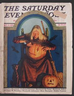 """The Saturday Evening Post Halloween Cover Art """"Witch Carving A Pumpkin"""" October by Fred Stanley Vintage Halloween Images, Retro Halloween, Halloween Books, Halloween Pictures, Holidays Halloween, Happy Halloween, Scream Halloween, Halloween Artwork, Halloween Greetings"""