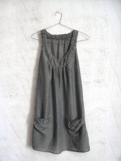 Vintage Khaki Dress.Tunic Dress.Transparent Dress.Silk Cotton  Dress.Green Dress.Sensitive Dress.