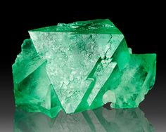 Green octahedral fluorite from South Africa www.treasuremountainmining.com / Mineral Friends <3