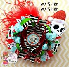 Santa Jack Skellington Santa bow Jack Bow by LittleAsBowtique