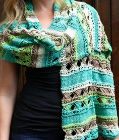 """Free Knitting Pattern for Cross Stitch Stole - Approximate Finished Measurements 16"""" wide x 61"""" long after blocking. Great with multi-color yarn. Designed by Vanessa Ewing."""