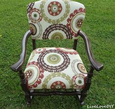 reupholstering old rocking chairs | trimmed the seam areas with matching red trim simply using hot glue ...