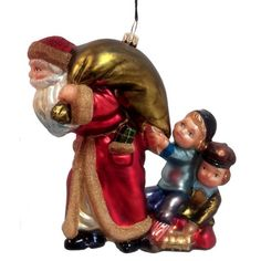 What Do You Have for Me Children with Santa Polish Mouth Blown Glass Ornament by PinnaclePeak Santa Z