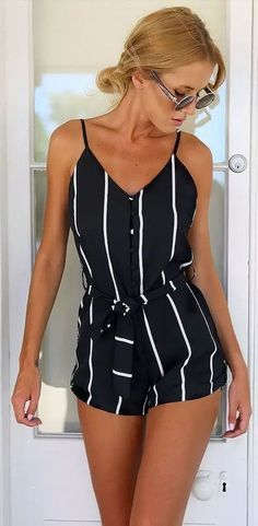 Black Plunge Neck Cross Backless Mesh Lace Cami Romper Playsuit – Outfit World – All Outfit Ideas For You Komplette Outfits, Spring Outfits, Fashion Outfits, Womens Fashion, Latest Fashion, Dressy Summer Outfits, Summer Outfits For Teens Beach, Short Outfits, Summer Outfits For Vacation