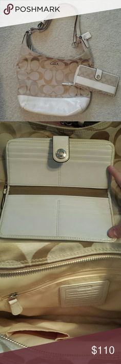 REDUCED! Coach bag and wallet set! Authentic matching coach wallet and shoulder bag. Great tan and cream colors. Both are gently used. One pen mark on bottom of bag.  Wallet has a faint mark on back. Wallet also has a zippered back for bills that is not pictured. No trades. Reasonable offers accepted! Must go! Coach Bags Shoulder Bags