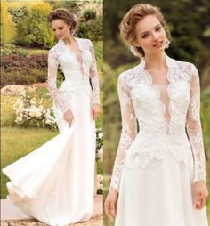 179.00$  Watch now - http://viufa.justgood.pw/vig/item.php?t=eo5d5w14621 - White/Ivory Winter lace Wedding dresses Bridal Gowns Size 6 8 10 12 14 16 18 +++